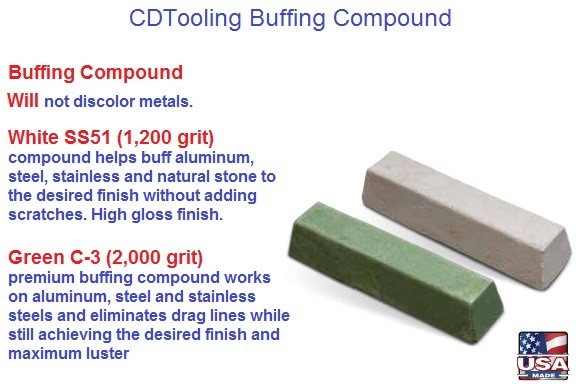 Buffing Compound White 1200 Grit High Gloss, Green 2000 Grit Maximum Luster
