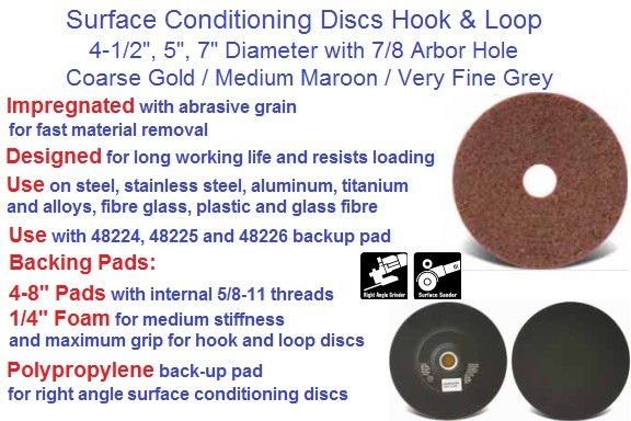 Surface Conditioning Discs Hook and Loop  4-1/2