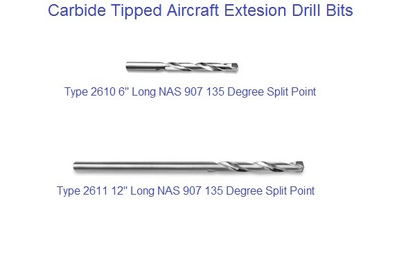Carbide Tipped Air Craft Extension Drill Bits 6 and 12 inch Long  NAS907