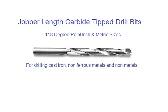 Carbide Drill Bits Carbide Tipped Jobber Length Inch and Metric 118 Degree Point