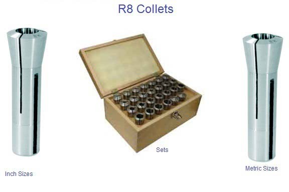 "R-8 Precision Collets Inch from 1/16- 1"" Metric From 3mm-22mm"