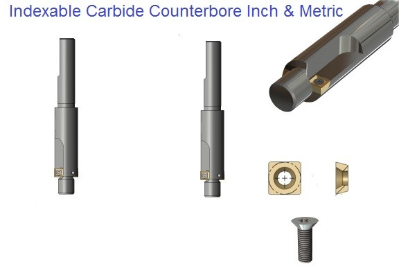 Indexable Carbide Counterbores Capscrew Sizes Metric, Inch