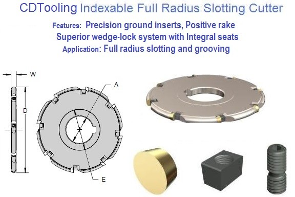 Indexable Carbide Full Radius Slotting Mill 3 to 6 inch Diameter, 1/8 to 3/8 Width