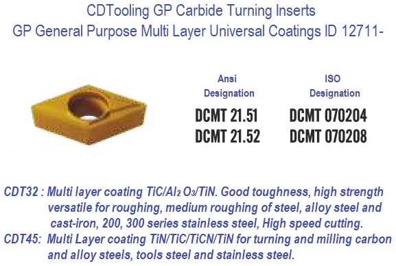 DCMT 21.51, DCMT 21.52, GP Grade Indexable Carbide Inserts 10 Pack ID 1505-
