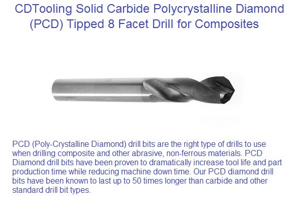 Polycrystalline Diamond ,PCD Diamond Tipped Carbide drills bits  8 facet point ID 2159-