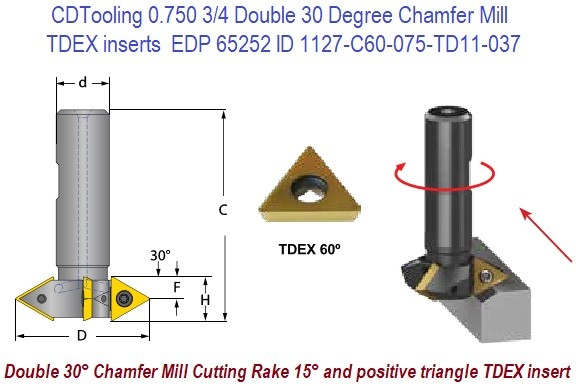 0.750 3/4 Double 30 Degree Chamfer Mill Uses TDEX inserts EDP 65252 ID 1127-C60-075-TD11-037