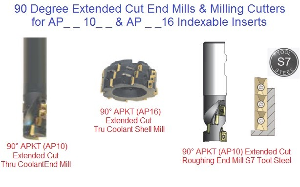 APKT 1003 1604 90 Degree Extended Cut Length End Mills and Milling Cutters