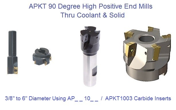 APKT1003 90 Degree Milling Cutter, End Mill Thru Coolant and Solid 3/8 to 6 inch Diameter