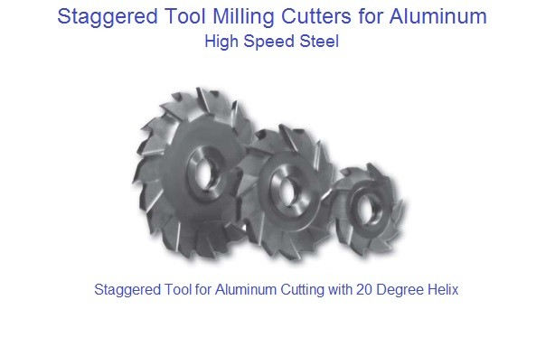 "Milling Cutter Staggered Tooth HSS for Aluminum Range 4 to 8"" Diameter 7/32 to 1"" Width"