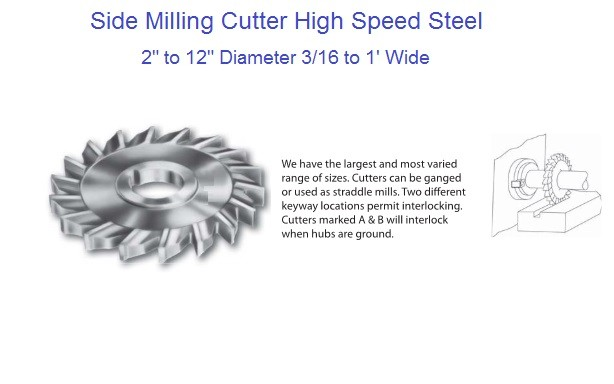 "Milling Cutters Side Straight Tooth High Speed Steel 2"" to 12"" Diameter 3/16 to 1"" Wide"