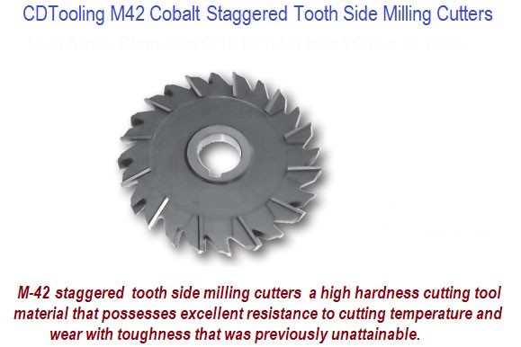 6  x 1  x 1 1/4  30 Teeth - Staggered Tooth Side Milling Cutter M42 Cobalt - ID: 1368-11804G-A606L