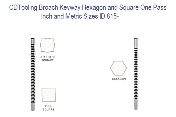 Broach, Keyway Hexagon and Square One Pass, Full Square .125 TO 1.0 Inch and 4.0MM TO 25.0MM Metric Sizes ID 815-