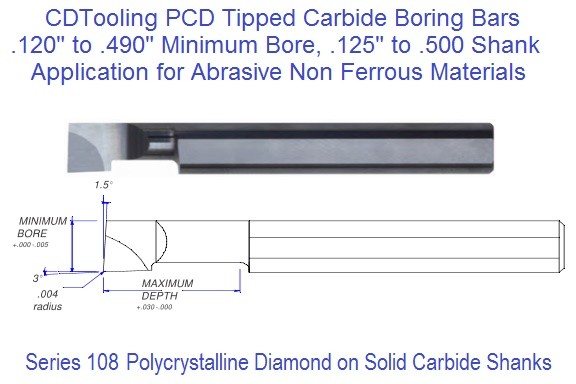 PCD Polycrystalline Diamond Tipped Boring Bars .120 .180 .240 .370 .490 Min Bore