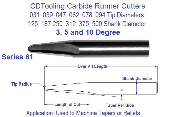 Carbide Runner Cutters 3 5 10 Degree, .031 .039 .047 .062 .078 .94 Tip Series 61