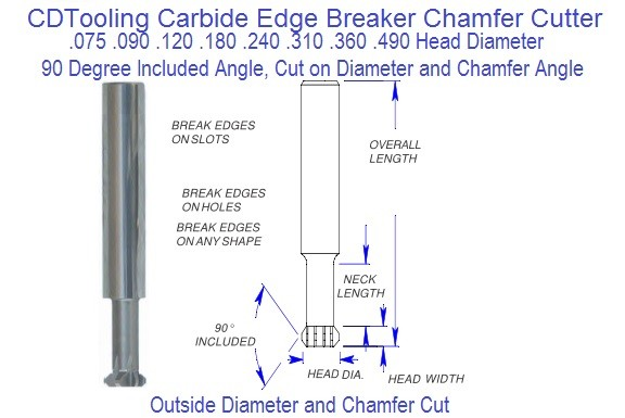 Carbide Edge Breaker Chamfer Cutter .075 .090 .120 .180 .240 .310 .360 .490 Series 65 ID 2352