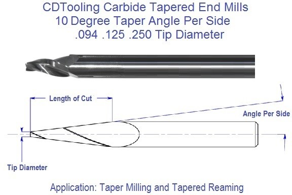 10 Degree, Carbide Tapered End Mills .094 .125 .250 Tip Series 69