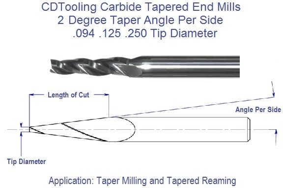 2 Degree, Carbide Tapered End Mills .094 .125 .250 Tip Series 69