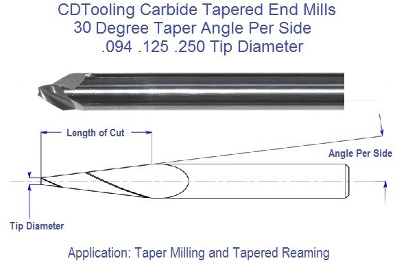 30 Degree, Carbide Tapered End Mills .094 .125 .250 Tip Series 69