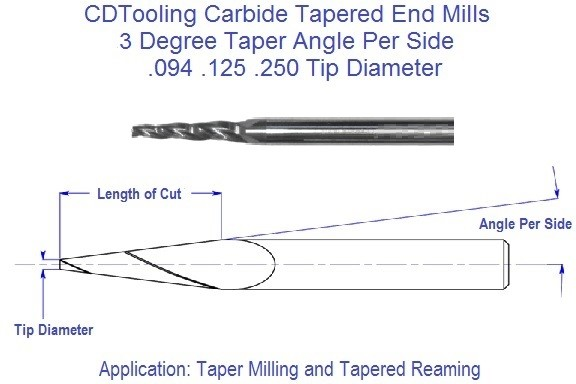 3 Degree, Carbide Tapered End Mills .094 .125 .250 Tip Series 69