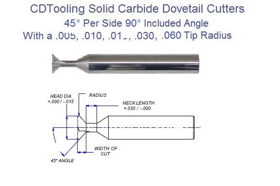 45 Per Side, 90 Included, 45 from End Degree Angle ,005, .010, .015, .030, .060 Radius Tip Carbide Dovetail Cutters ID 2249-
