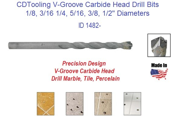 Carbide Head V-Groove Drill Bit for Marble Tile Porcelain V Groove Tip ID 1482