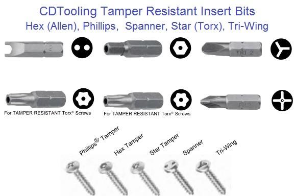 Tamper Resistant Screw Driver Insert Bits Spannertorx Tri Wing