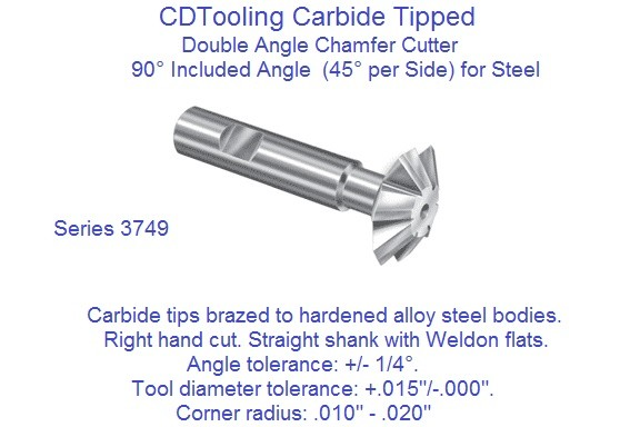 Carbide Tipped Double Angle 90 Degree Included, 45 Per Side Milling Cutters for Non Ferrous, Cast Iron 3748