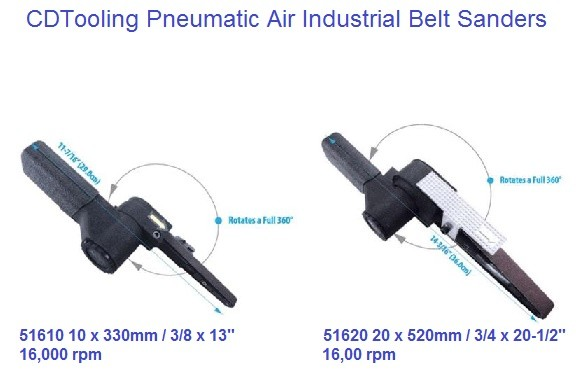 Air Pneumatic Belt Sander 10 x 330mm (3/8 x 13) 20 x 520 (3/4 x 20-1/2) Models 51610, 51620