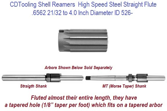 Shell Reamers High Speed Steel Straight Flute .6256 TO 4.0 Inch Diameter Sizes ID 526-