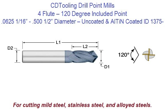 .0312 1/32 - .500 1/2 Inch Diameter - 4 Flute 120 Degree Carbide Drill Mill - Uncoated and AlTiN Coated ID 1375-