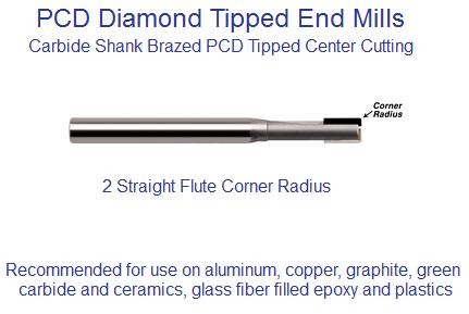 PCD End Mill Polycrystalline Diamond 2 Flute Radius End 3/32,1/8,3/16,1/4""