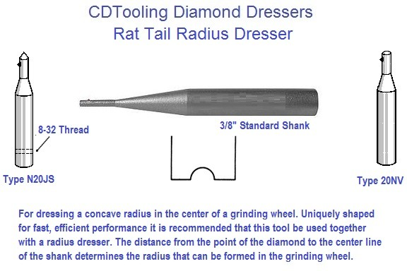 Diamond Rat Tail Radius Dresser .032