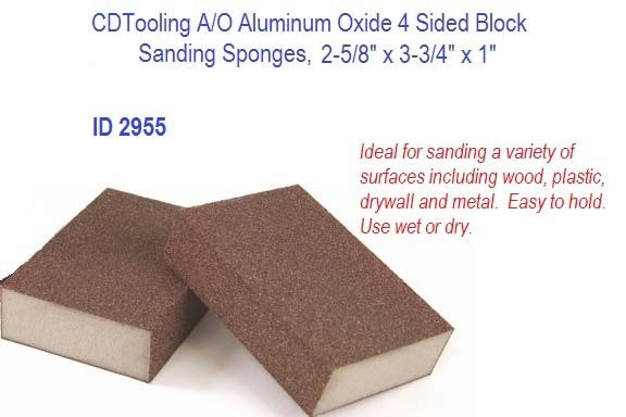 A/O Aluminum Oxide 4 Sided Block Sanding Sponges, 2.625 2-5/8