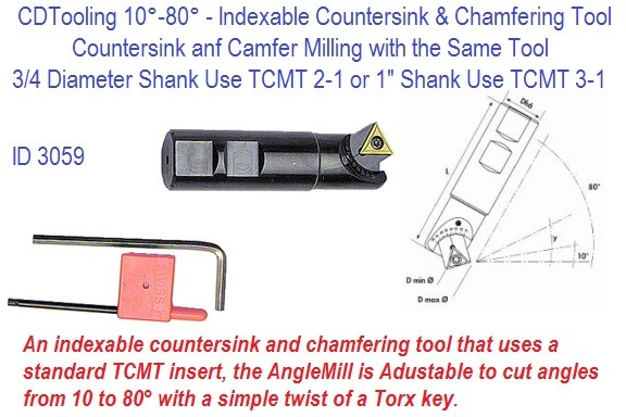 0-80 Degree Adjustable Angle Countersink And Chamfer Mill 40330W ID 3059-