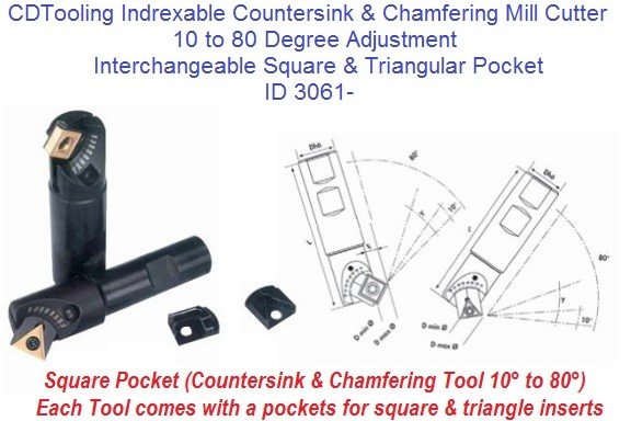 0-80 Degree Adjustable Angle Countersink And Chamfer Mill Interchangeable Pocket TCMT SCMT FG403 ID 3061