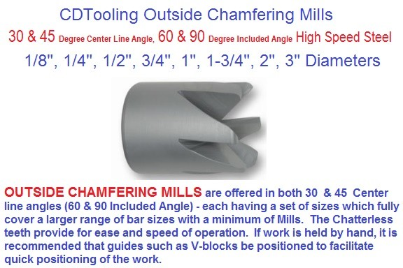 OC- Outside Chamfer Mills 1/8 1/4 1/2 3/4 1 1-3/4 2 3 inch Work Dia 28 30 45 C/L 56 60 90 Inc Angle Degree ID 1993-