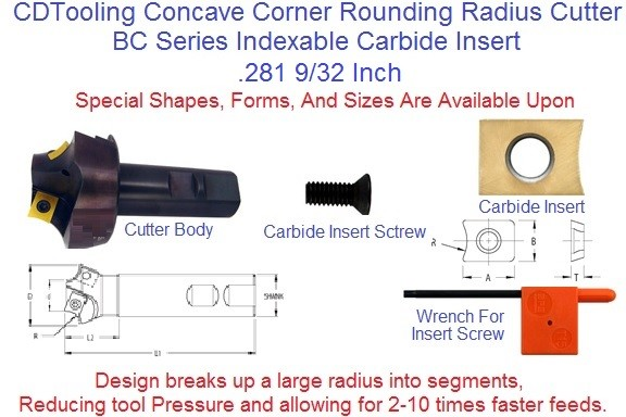 .281 9/32 Corner Rounding, Indexable Carbide, Concave Radius Cutter BC4821564C281 ID 2202-