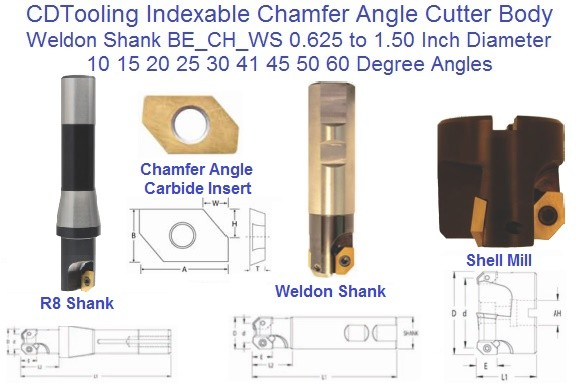 Indexable Chamfer Angle Cutter 5/8 - 1-1/2 inch Diameter 10,15,20,25,30,41,45,50,60 Degree Angle ID 2007-