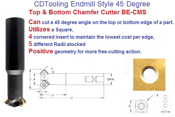 Endmill Style 45 Degree Top and Bottom Chamfer Cutter BE CMS ID 2008-