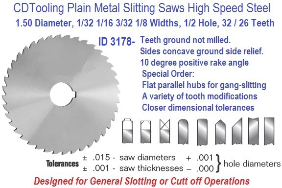7.0 Inch Diameter .020 .035 .050 Widths Cutting Saw HSS Precision Ground ID 3138-
