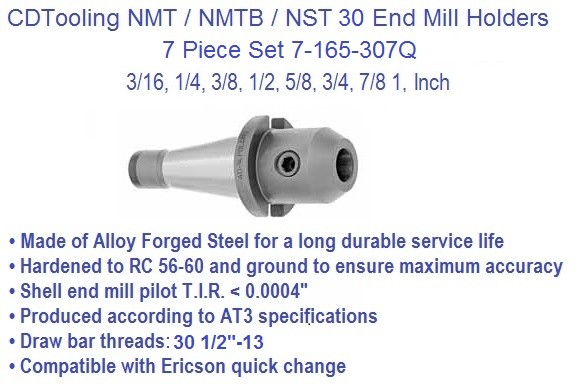 NST30 / NMTB30 Taper, End Mill Holder Set 3/16-1 Inch 8 Piece Set