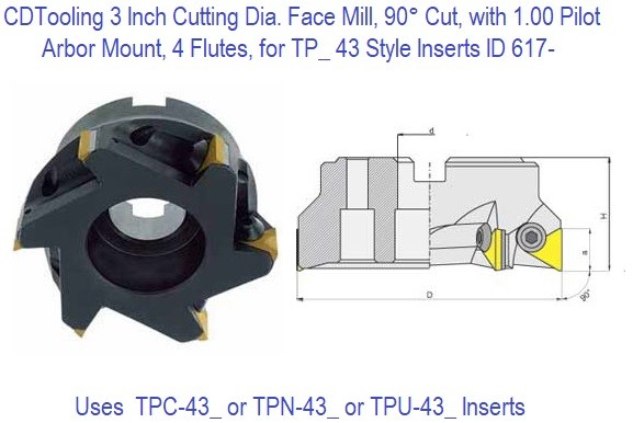 3 Inch Cutting Diameter Face Mill, 90 Degree Cut, with 1.00 Pilot Arbor Mount, 4 Flutes, for TP_ 43_ Style Inserts ID 617-