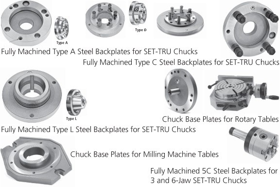 Back Plate For Set-Tru Chucks A, C,  D, L, Threaded and Base Plates  Bison Bial
