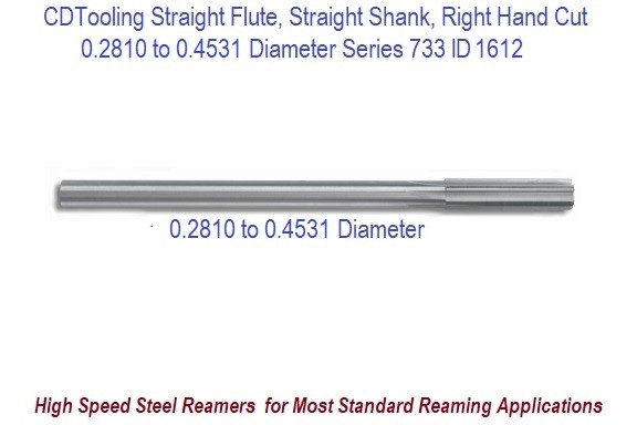 0.2810 to 0.4531 Diameter High Speed Steel Straight Flute, Straight Shank, Right Hand Cut Chucking Reamer Series 733 ID 6612-