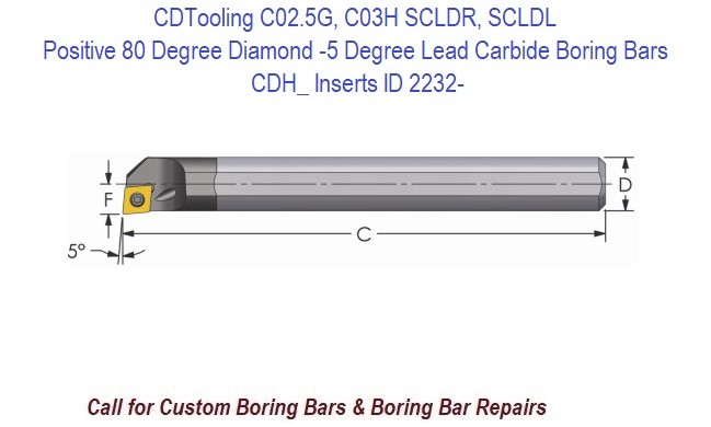 C02.5G, C03H - SCLDR, SCLDL 1.2 - Boring Bars Carbide Positive 80 Degree Diamond -5 Degree Lead, CDH_ Inserts ID 2232-