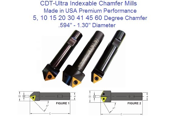 5 per Side 10 Included Degree Chamfer Angle .594 Min Diameter .500 Max Diameter No Coolant .750 x 4.000 Indexable Chamfer Mill to hold (1) TCMT 32.52