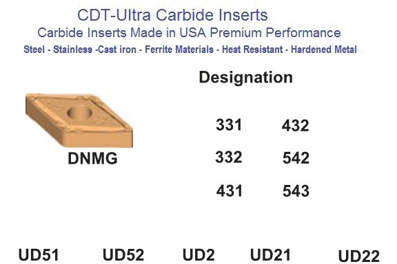 DNMG 331 332 431 432 542 543  UD51 UD52 UD21 Carbide Inserts CDT-Ultra ID 1855-