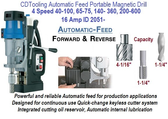 4-1/16 Annular Cutter, 1-1/4 Twist Drill and Tap Capacity Automatic Feed Portable Magnetic Drill ID 2051-