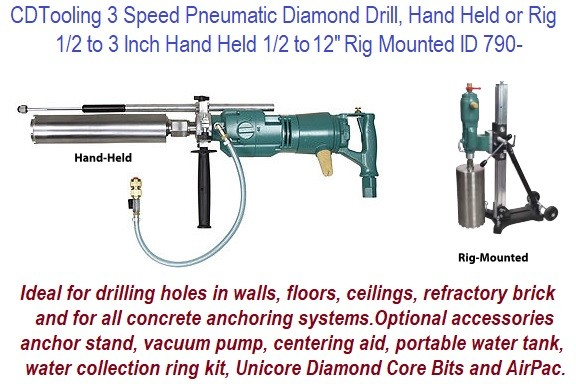 1/2 to 3, Hand held or 1/2 to 12 Inch Rig Mounted 3 Speed Pneumatic Diamond Core Drill Unit ID 790-
