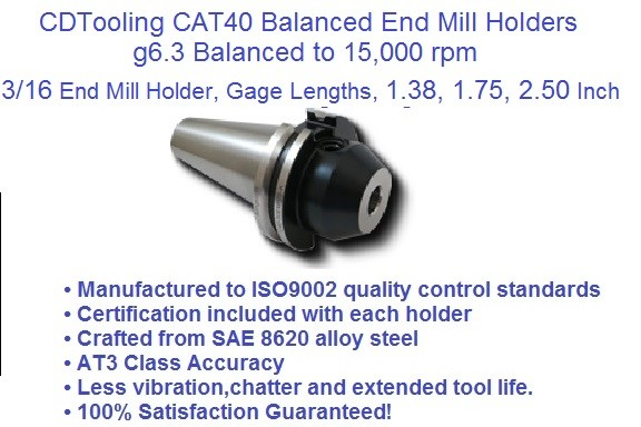 CAT40 3/16 (0.187), Gage Lengths, 1.38, 1.75,  2.50 End Mill Holders G6.3